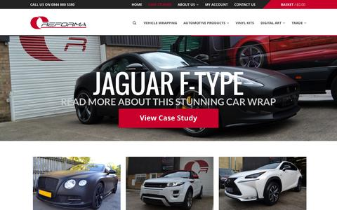 Screenshot of Case Studies Page reforma-uk.com - Case Studies - Find out more - Reforma UK - Car Wrapping - captured Oct. 26, 2014