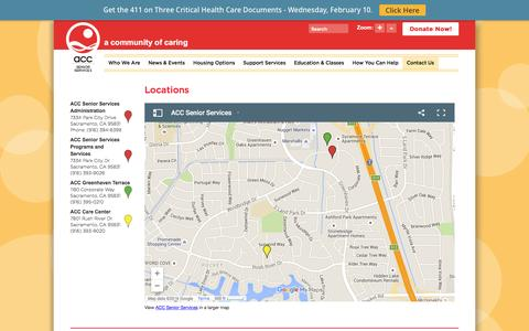 Screenshot of Locations Page accsv.org - The location of the ACC Senior Services Center - captured Feb. 4, 2016