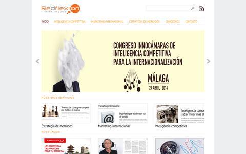 Screenshot of Home Page redflexion.com - Inteligencia competitiva, corporativa y empresarial en España | Inicio - captured Oct. 7, 2014