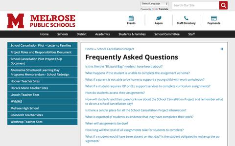 Screenshot of FAQ Page melroseschools.com - Frequently Asked Questions | Melrose Public Schools - captured Oct. 17, 2018
