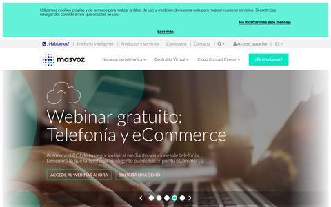 Screenshot of Home Page masvoz.es - masvoz | Soluciones de Telefonía Inteligente para empresas - captured July 13, 2018