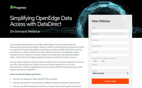 Screenshot of Landing Page progress.com - Webinar   Simplifying OpenEdge Data Access with DataDirect - captured July 17, 2019