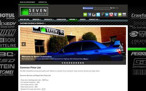 Screenshot of Pricing Page sevenautomotive.ca - Common Price List   Seven Automotive - captured Oct. 1, 2014