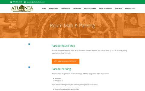 Screenshot of Maps & Directions Page atlantastpats.com - Route Map & Parking – Atlanta St. Patrick's Parade - captured Oct. 4, 2018