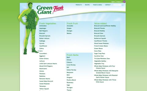 Screenshot of Products Page greengiantfresh.com - Green Giant Fresh US - captured Sept. 30, 2014