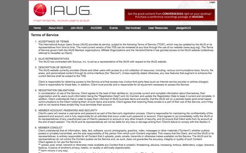 Screenshot of Terms Page iaug.org - International Avaya Users Group : Terms of Service - captured Sept. 23, 2014