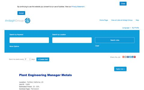Screenshot of Jobs Page ardaghgroup.com - Plant Engineering Manager  Metals - captured Oct. 23, 2019