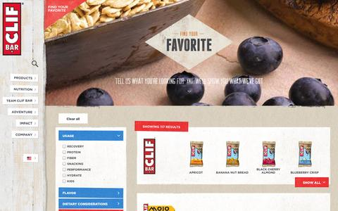 Screenshot of Products Page clifbar.com - Clif Bar - Find Your Favorite - captured Sept. 19, 2014