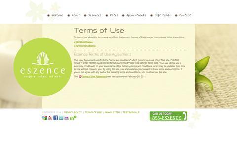 Screenshot of Terms Page eszence.com - Eszence - Terms of Use - captured Sept. 30, 2014