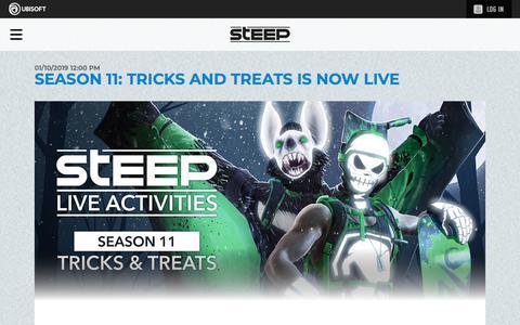Screenshot of Press Page ubisoft.com - Season 11: Tricks and Treats is now live  | Steep Competitors Basecamp - UBISOFT - captured Nov. 8, 2019