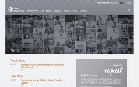 Screenshot of Press Page perlebioscience.com - Media - Perle BiosciencePerle Bioscience - captured Oct. 28, 2014