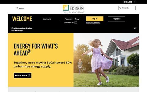 Screenshot of Home Page sce.com - Southern California Edison - SCE | Southern California Edison - captured Nov. 19, 2018