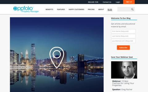 Screenshot of Blog appfolio.com - The Official AppFolio Blog - The official blog of AppFolio, Inc., makers of the complete online property management software solution, AppFolio Property Manager. - captured Jan. 25, 2016