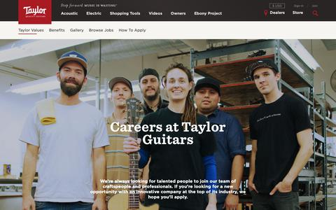 Screenshot of Jobs Page taylorguitars.com - Careers | Taylor Guitars - captured Dec. 23, 2018