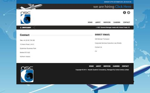 Screenshot of Contact Page nacellesystems.com - Nacelle Systems Consultancy   |  Contact - captured Oct. 27, 2014