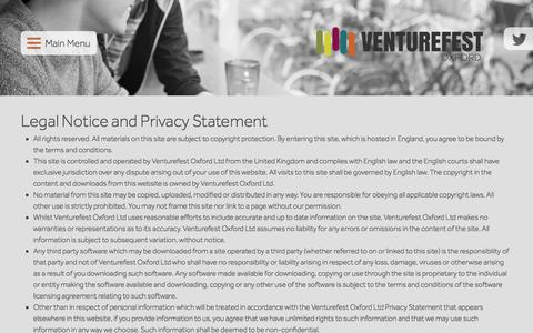 Screenshot of Privacy Page venturefestoxford.com - Privacy Policy - Venturefest Oxford - captured Aug. 18, 2016