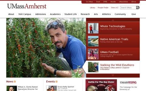 Screenshot of Home Page umass.edu - Home | UMass Amherst - captured July 11, 2014