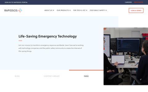 Screenshot of FAQ Page rapidsos.com - Resources - Overview - RapidSOS - captured Nov. 6, 2019