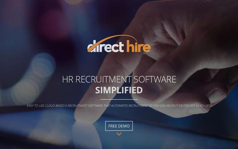 Screenshot of Home Page mcidirecthire.com - Direct Hire Recruitment Software - captured March 18, 2016
