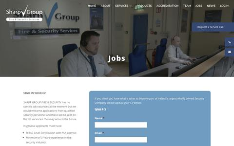 Screenshot of Jobs Page sharpgroup.ie - Jobs - Sharp Group : Commercial Fire & Security Services - captured Oct. 4, 2017