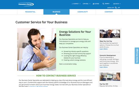 Screenshot of Support Page consumersenergy.com - Customer Service for Your Business | Consumers Energy - captured July 23, 2019