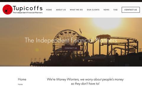 Screenshot of Home Page tupicoffs.com.au - Tupicoffs, The Independent Financial Planners - captured Aug. 18, 2016