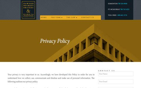 Screenshot of Privacy Page dsscrimlaw.com - Privacy Policy - Dawson Duckett Shaigec & Garcia, Barristers - captured Feb. 8, 2016