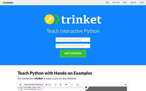 Screenshot of Home Page trinket.io - Trinket: the key to open teaching - captured Sept. 17, 2014