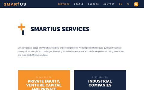 Screenshot of Services Page smartius.fi - Services | Smartius - captured Nov. 12, 2018