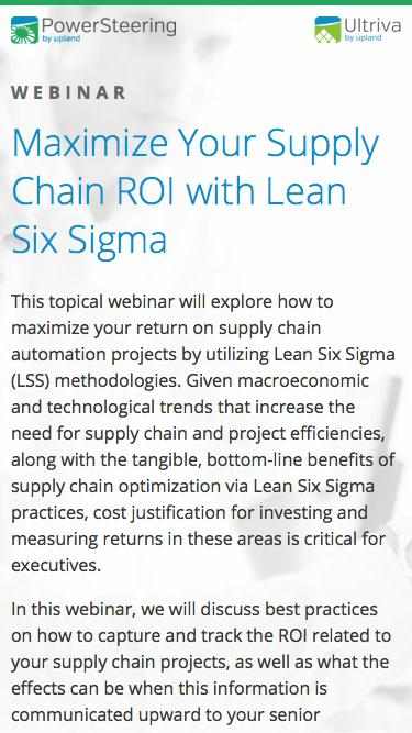Maximize Your Supply Chain ROI with Lean Six Sigma
