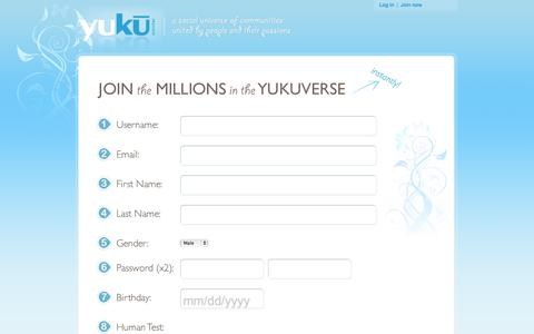 Screenshot of Signup Page yuku.com - Join a Social Network on Yuku | Free forums, social networks, communities, chat rooms, Yuku is a universe of free social networking communities united by people and their passions. Create a free social networking forum instantly or join one of the th - captured Sept. 19, 2014