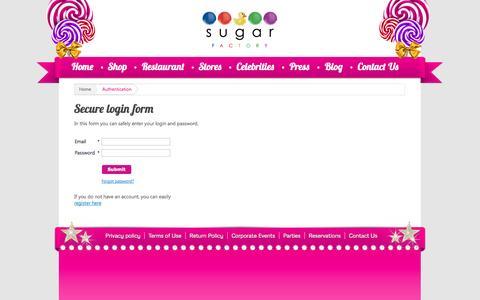 Screenshot of Login Page sugarfactory.com - Sugar Factory :: Authentication - captured Oct. 31, 2014