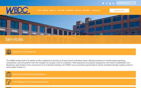 Screenshot of Services Page thewbdc.com - Services | The Worcester Business Develepment Corporation - captured Oct. 18, 2018
