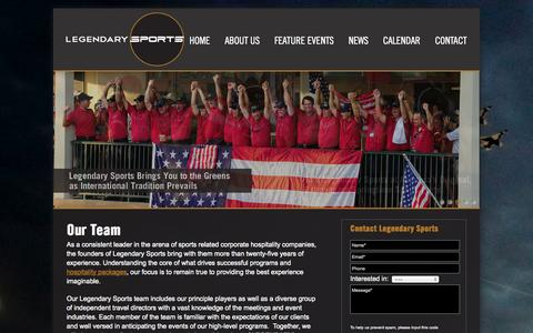 Screenshot of Team Page legendarysports.com - Corporate Hospitality Companies   Legendary Sports - captured Sept. 29, 2014