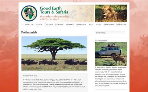 Screenshot of Testimonials Page goodearthtours.com - Testimonials � Good Earth Tours & Safaris - captured Dec. 10, 2015