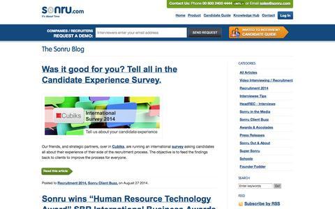 Screenshot of Blog sonru.com - Sonru Blog, HR and recruitment industry research, news and interviews | Sonru.com - captured Sept. 17, 2014