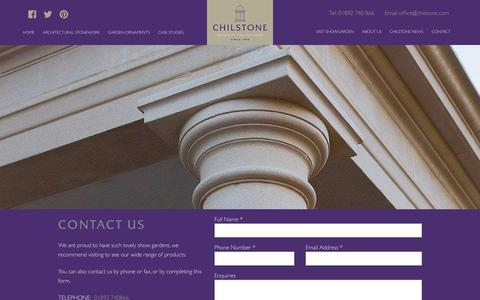 Screenshot of Contact Page chilstone.com - Chilstone | Architectural Stonework - captured July 17, 2018