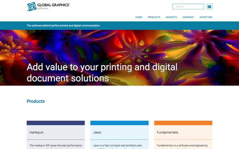 Screenshot of Products Page globalgraphics.com - Global Graphics Software - captured May 19, 2017