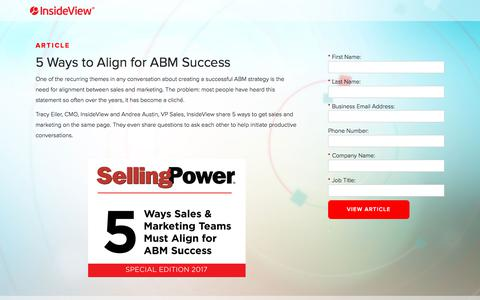 Screenshot of Landing Page insideview.com - 5 Ways to Align for ABM Success | Registration - captured March 29, 2018
