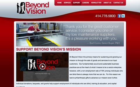 Screenshot of Support Page beyondvision.com - Support Beyond Vision's Mission - captured Oct. 5, 2014