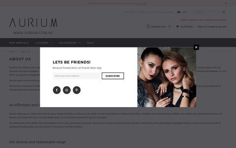 Screenshot of About Page aurium.com.au - About Us – Aurium Boutique - captured Nov. 13, 2018