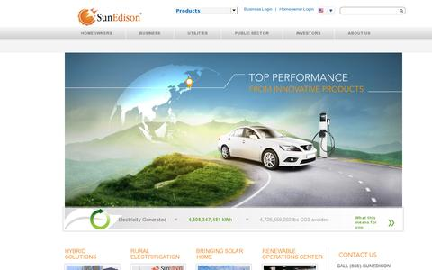 Screenshot of Home Page sunedison.com - Solar Power and Renewable Energy Solutions | SunEdison - captured July 11, 2014