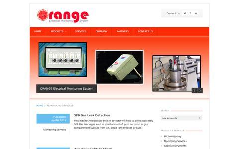 Screenshot of Services Page orange-monitoring.com - Electrical Monitoring Services | ORANGE ELECTRICAL MONITORING - captured Jan. 12, 2016