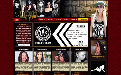 Screenshot of Home Page luxuryfam.com - Luxury Family | Showcasing Beautiful Models + New & Upcoming Female Artists - captured Sept. 22, 2014