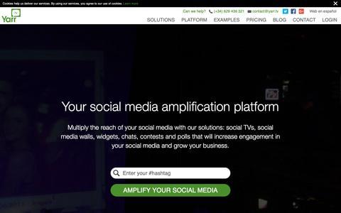 Screenshot of Home Page yarr.tv - Social media amplification platform Yarr TV - captured Oct. 18, 2018