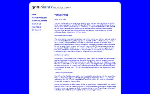 Screenshot of Terms Page griffinlantzinsurance.com - Griffin-Lantz Insurance Terms of Use - captured Feb. 25, 2016