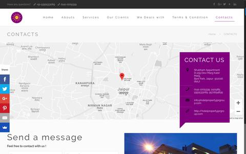Screenshot of Contact Page hotelpropertiesindia.in - CONTACTS – JPR Group - captured Oct. 13, 2018