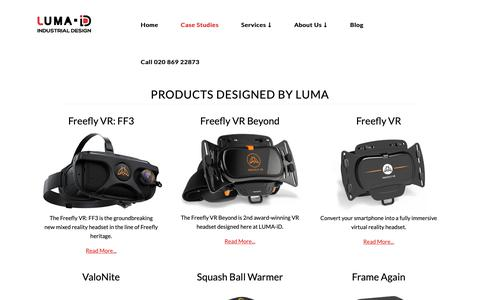 Screenshot of Case Studies Page luma-id.com - Products   Designed by LUMA Industrial Design   Product Design & 3D Printing London Based Consultancy - LUMA Industrial Design - captured Sept. 30, 2018