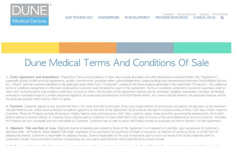 Screenshot of Terms Page dunemedical.com - Dune Medical Devices - makers of the MarginProbe - captured Oct. 9, 2018
