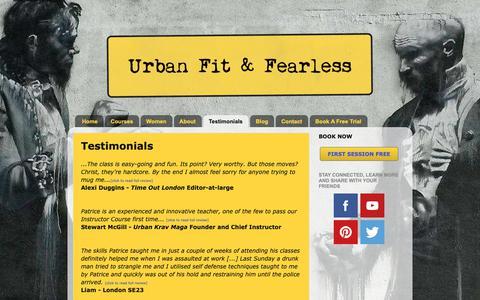 Screenshot of Testimonials Page urbanfitandfearless.com - Self Defence - Krav Maga   London   Urban Fit & Fearless: Testimonials - captured Oct. 19, 2018